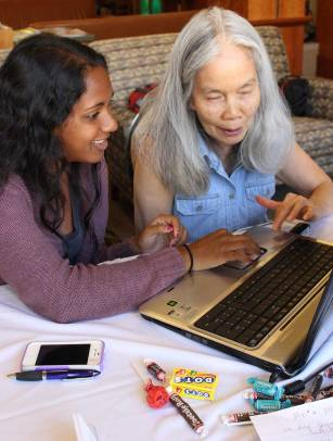 Advocates providing technology assistance for seniors at the Mountain View Senior Center