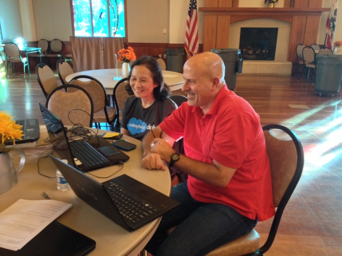 TimeBank member Jim assists new member Jeanne with Skype